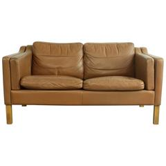 1970s Mid Brown Leather Mogensen Style Two-Seat Sofa