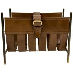 1950s Leather Magazine Rack by Jacques Adnet