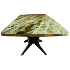 Gorgeous Mid-Century Modern Green Glass Table with Wooden Leg & Brass Detailings
