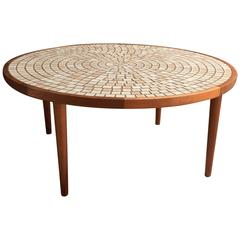 Round Tile Top and Walnut Coffee Table by Gordon and Jane Martz