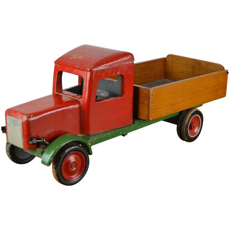 Large Wooden Antique Toy Dump Truck, 1940s