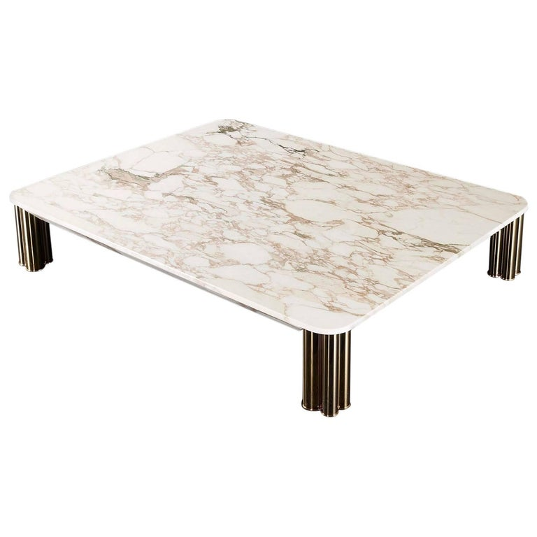 Ambra Coffee Table with Calacatta Oro Marble Top or Other Finishes For Sale