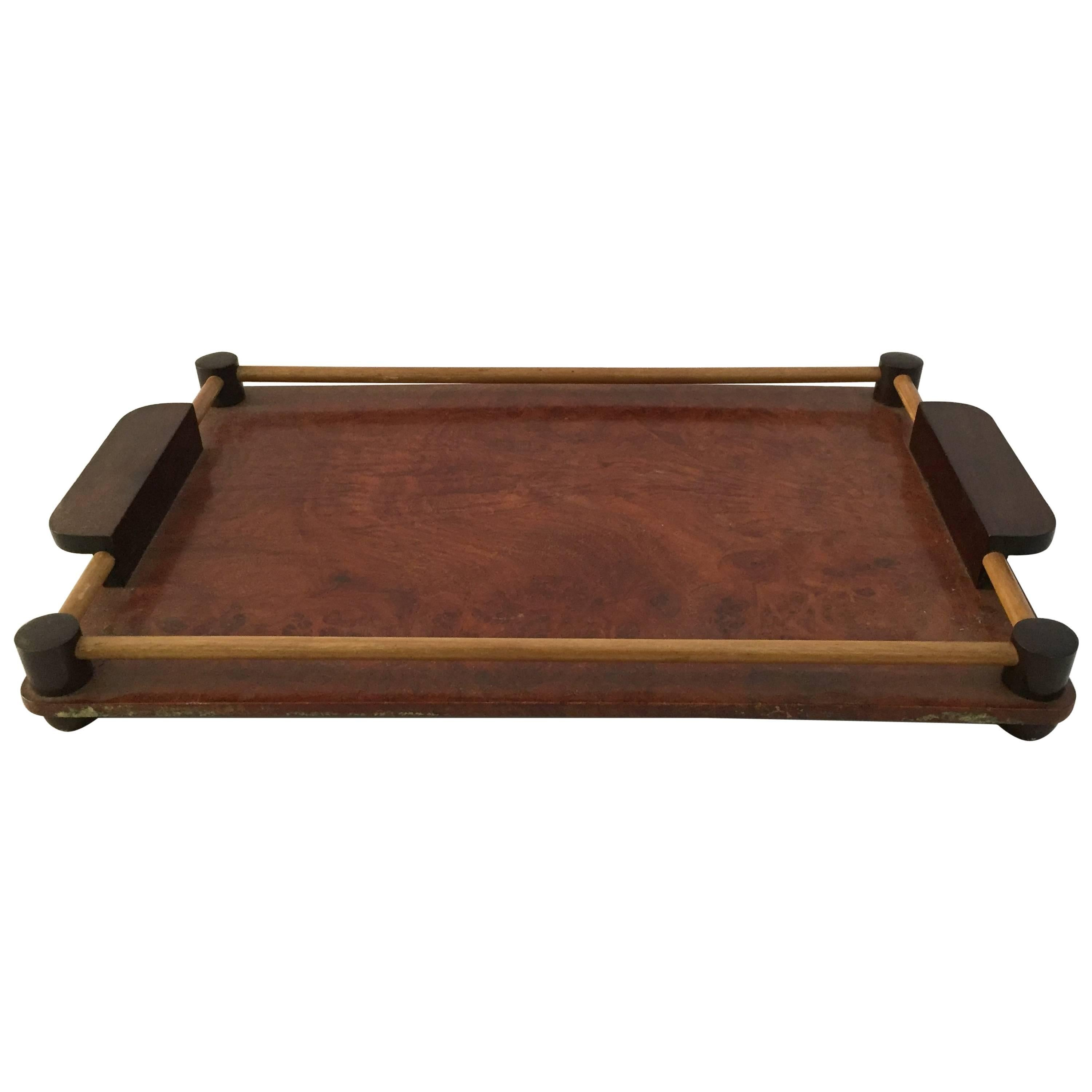 Art Deco Rosewood and Walnut Burl Serving Tray