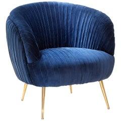 Diana Armchair in Blue Soft or Black Soft Velvet