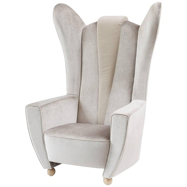Empire State Armchair in Black or Grey Velvet or in Painted Ecoleather