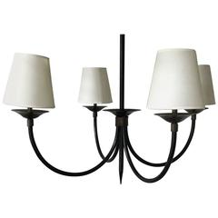 Chandelier Black and Bronze Iron Style of Jacques Adnet French, circa 1950s