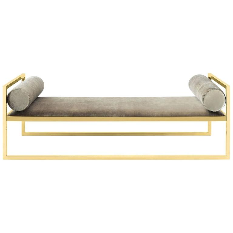 Grand Avenue Daybed in Gold Finish For Sale