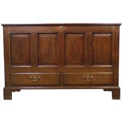 Oak Late 18th Century English Four Panel Mule Chest