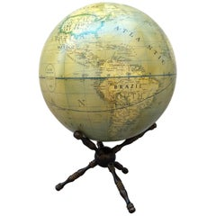 Modern Terrestrial Globe Wood Tripod Base