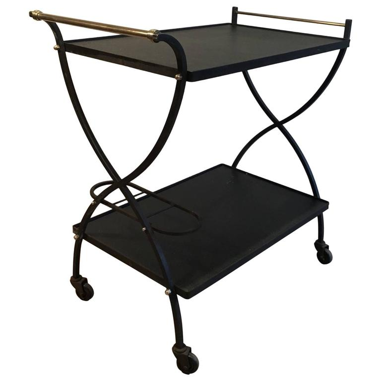 Mid-Century French Steel and Brass Bar Cart