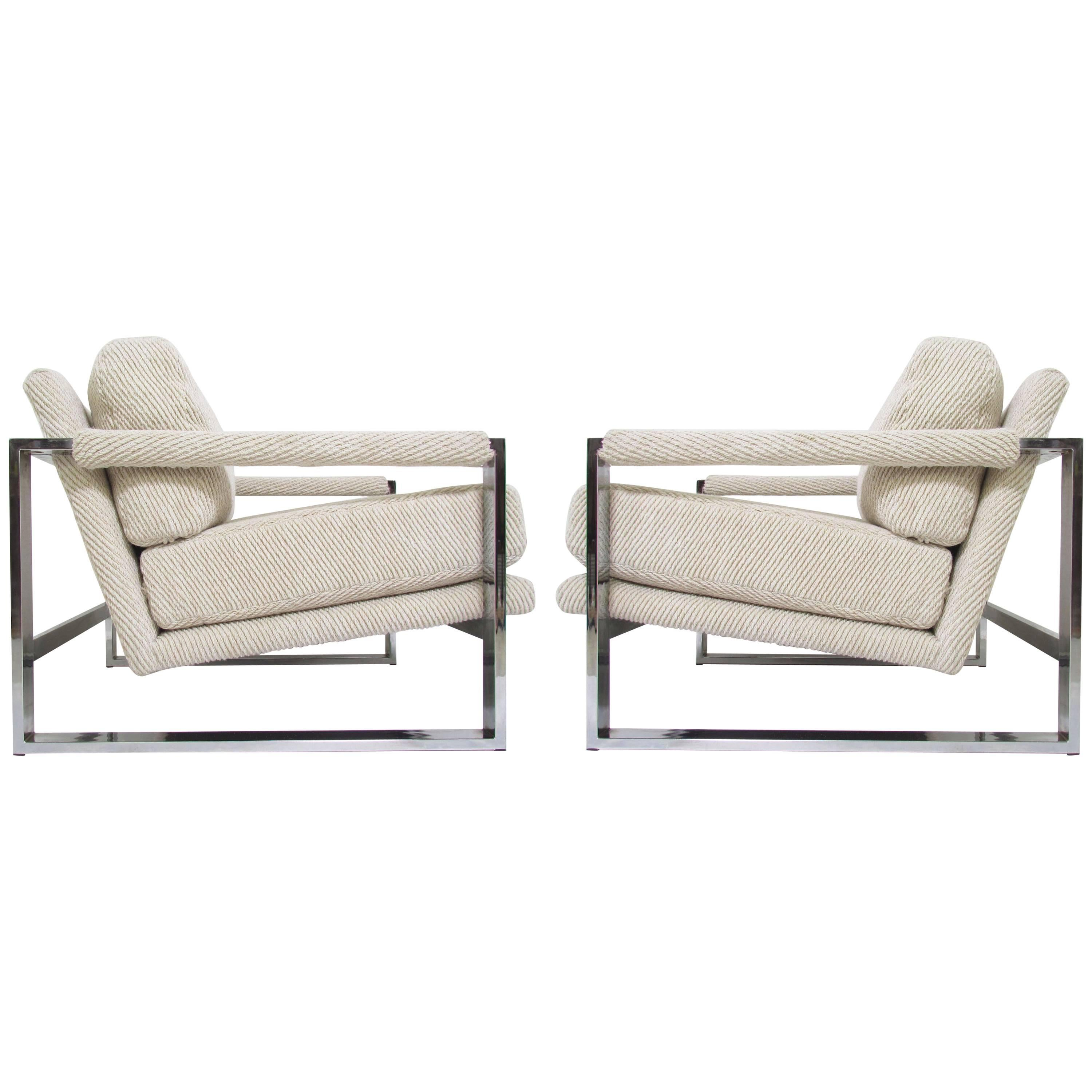 Pair Of Adrian Pearsall Cantilever Chrome Lounge Chairs For Comfort Designs  For Sale