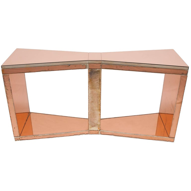 Butterfly Console Desk, Silvered Glass Coated by Sabrina Landini