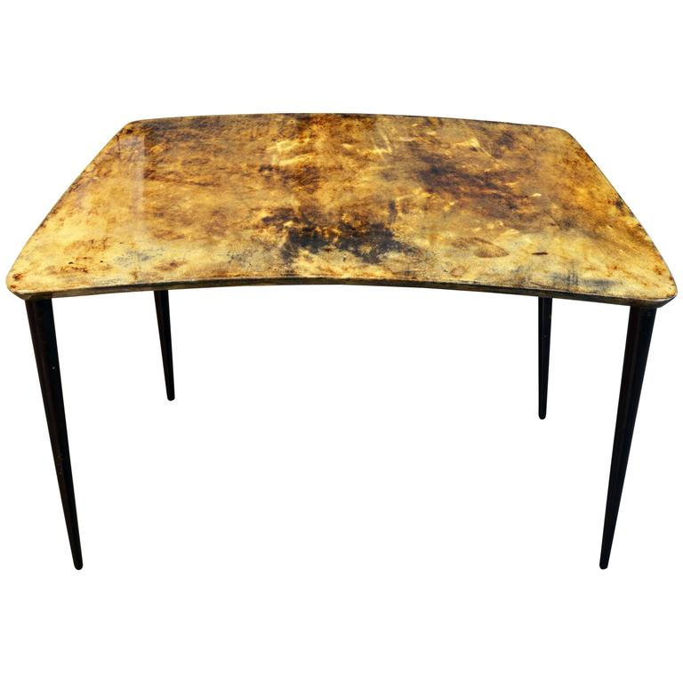 Mid-Century Italian Lacquered Goatskin Occasional Table by Aldo Tura