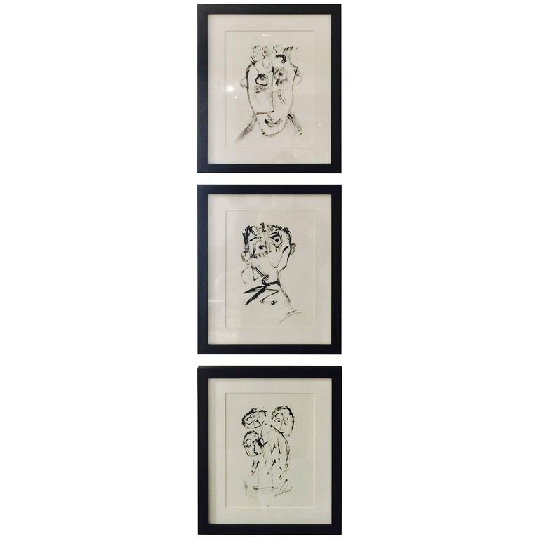 Trio Black/White Ink Drawings 1