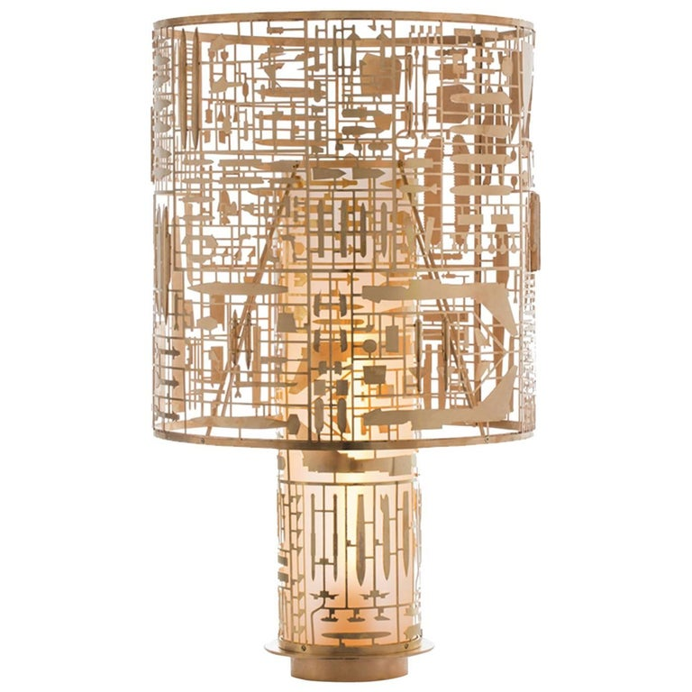 Disarmante Brass and Glass Table Lamp For Sale