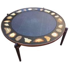 Very Rare and Exclusive Cocktail Table with Agate Inlays and Rosewood Base
