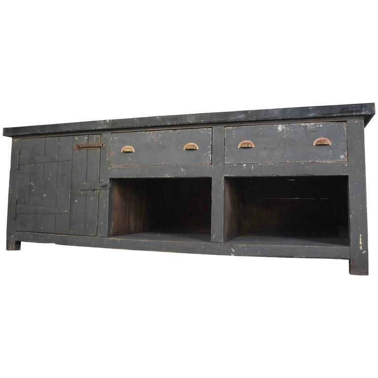 Sideboard Industrial vintage industrial zinc top kitchen table sideboard at 1stdibs