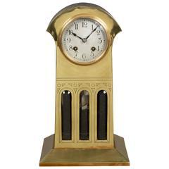 Art Nouveau Brass Cased Mantel Clock