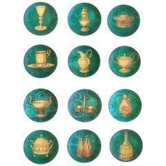 Piero Fornasetti 12 Stoviglie Malachite Plates, 1950s-1960s