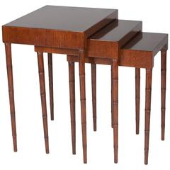 Set of Three Mahogany Nesting Table Attributed to James Mont