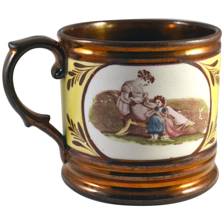 English Pottery Copper Lustre and Yellow Mug with Panels of Adam Buck Figures