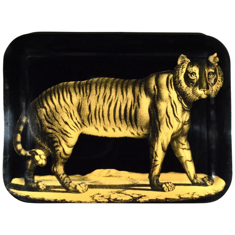 Piero Fornasetti Early Metal Tiger Tray, Early 1950s 1