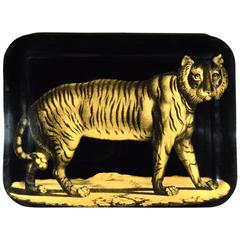 Piero Fornasetti Early Metal Tiger Tray, Early 1950s
