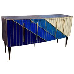 1990s Italian Modern Brass and Glass Bowed Sideboard in Blue and Cream White