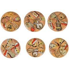 Piero Fornasetti Set of Six Strumenti Musicali Plates, 1950s-1960s