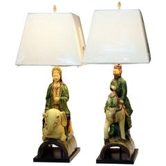 Pair of Zaccagnini Guanyin Buddha Figures Vintage Italian Ming Roof Tile Lamps