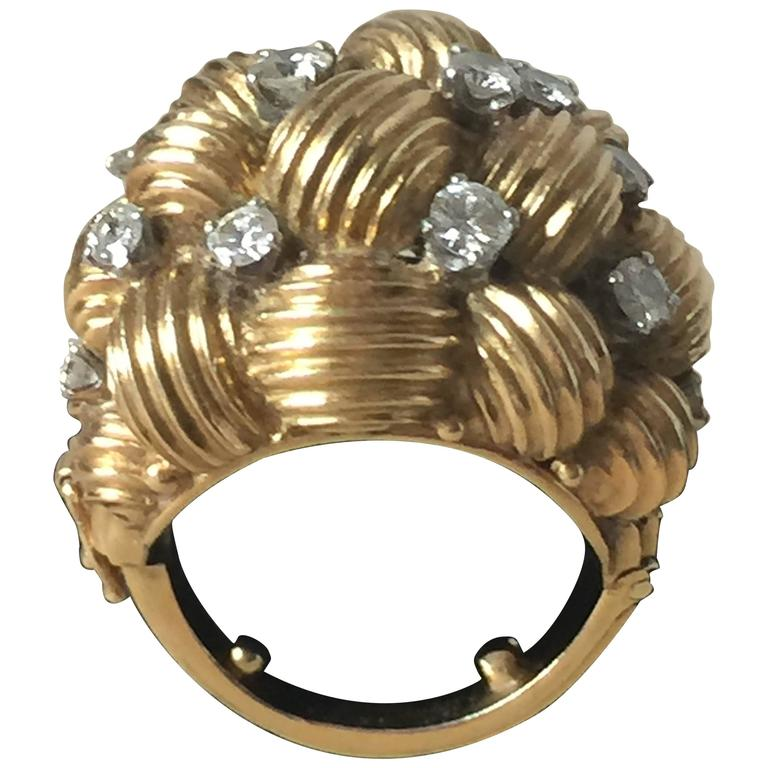 Diamond and Gold Cocktail Ring For Sale