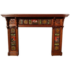 Impressive Gothic Revival Oak Fireplace Surround Attributed to Bruce Talbert