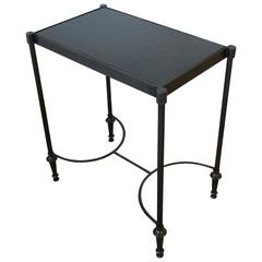 Small Side or End Table with Black Granite Marble Top in the Style of Jansen
