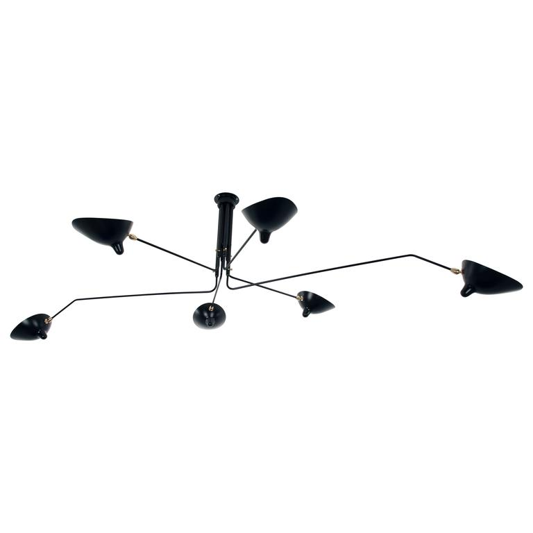 Serge Mouille Ceiling Lamp Six Rotating Arms in Black or White, Les Editions SM