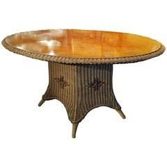 American Wicker Large Table with Grain-Painted Top, circa 1920-1940