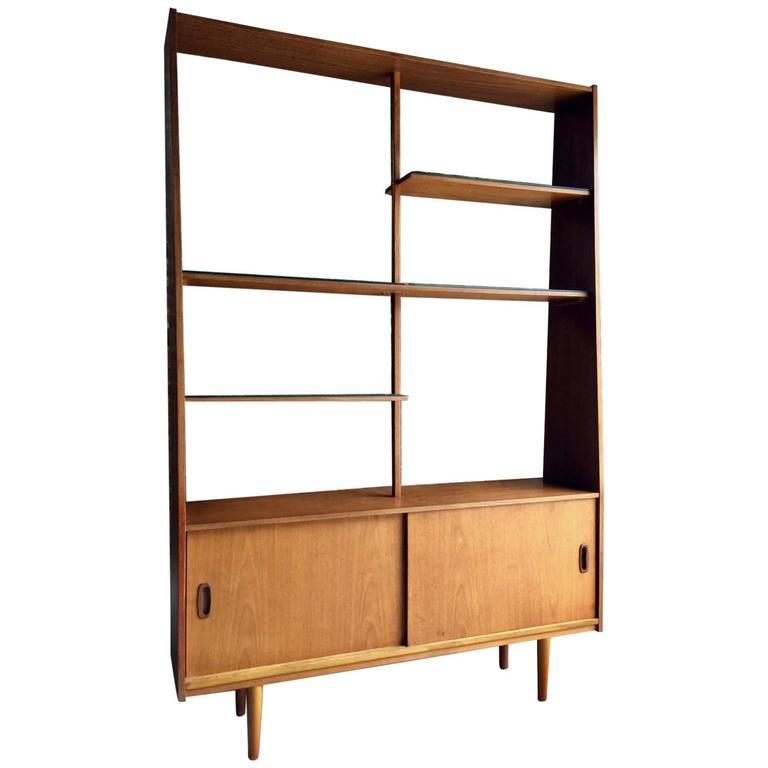 Mid Century Display Cabinet Wall Unit Dresser Room Divider Danish Teak For Sale