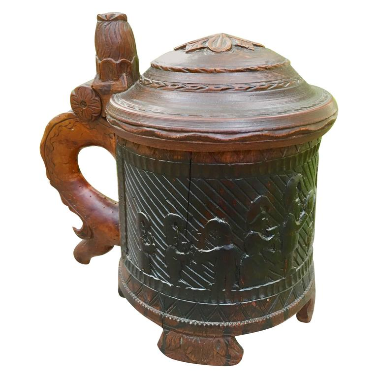 Rare Norwegian Carved Tankard Featuring Gnomes, Mid-18th Century
