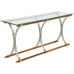 Turned Wood Console Table with Brushed Steel Legs and Glass Top
