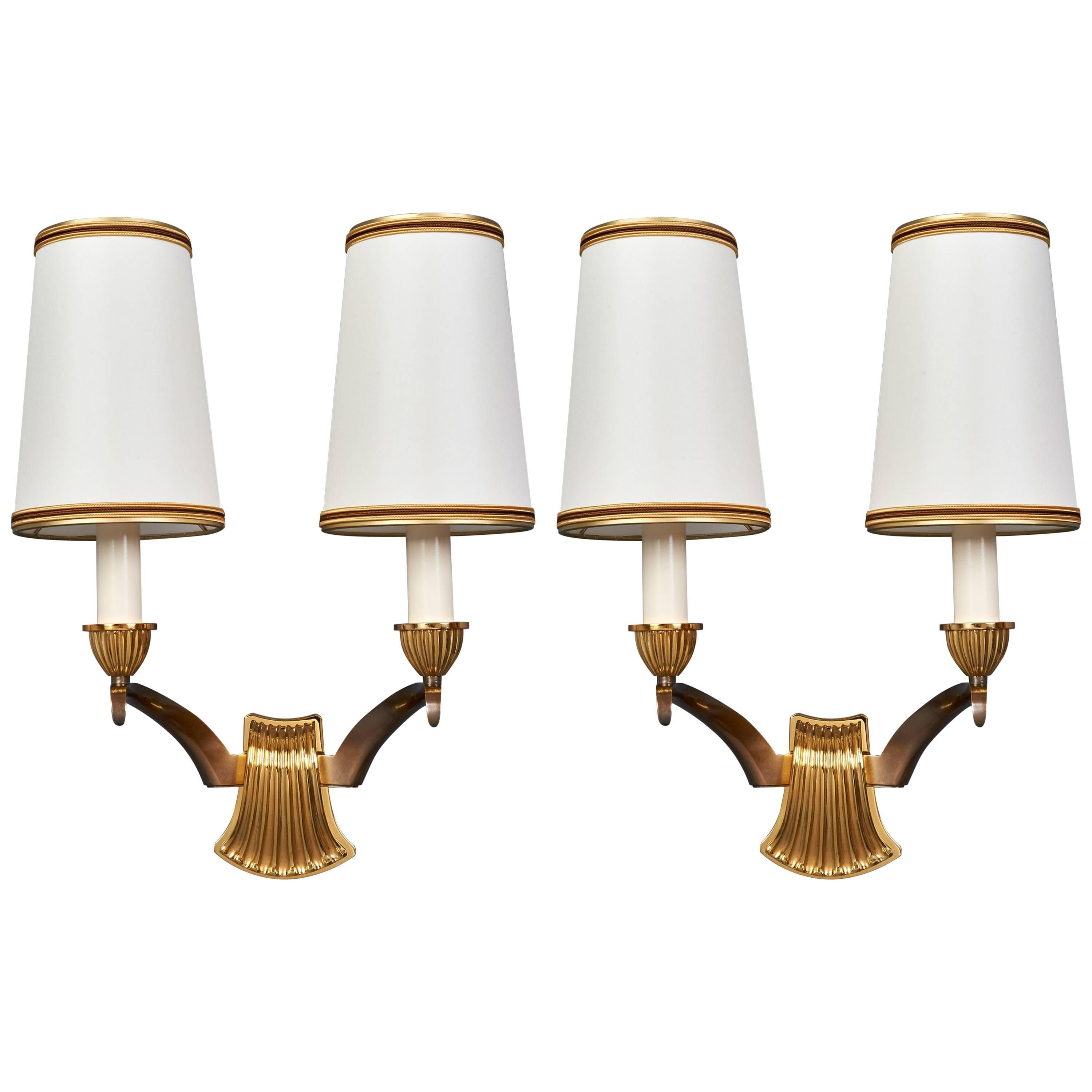 Pair of Scalloped Bronze Sconces by Genet Michon, France 1950s