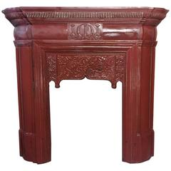 Rare Thomas Elsley Fireplace with Stylized Floral Details to the Centre