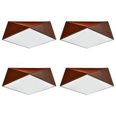 Four Enameled Metal Cubist Ceiling Lights, circa 1960