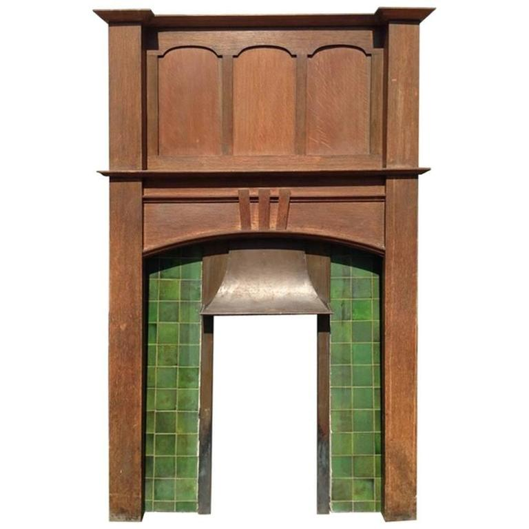 A Complete Arts And Crafts Oak Fireplace With Original Tiles And Copper Hood At 1stdibs