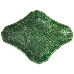 19th Green English Majolica Picked Cucumbers Platter