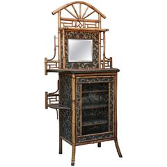 Superb Signed English Chinoiserie Bamboo Cabinet