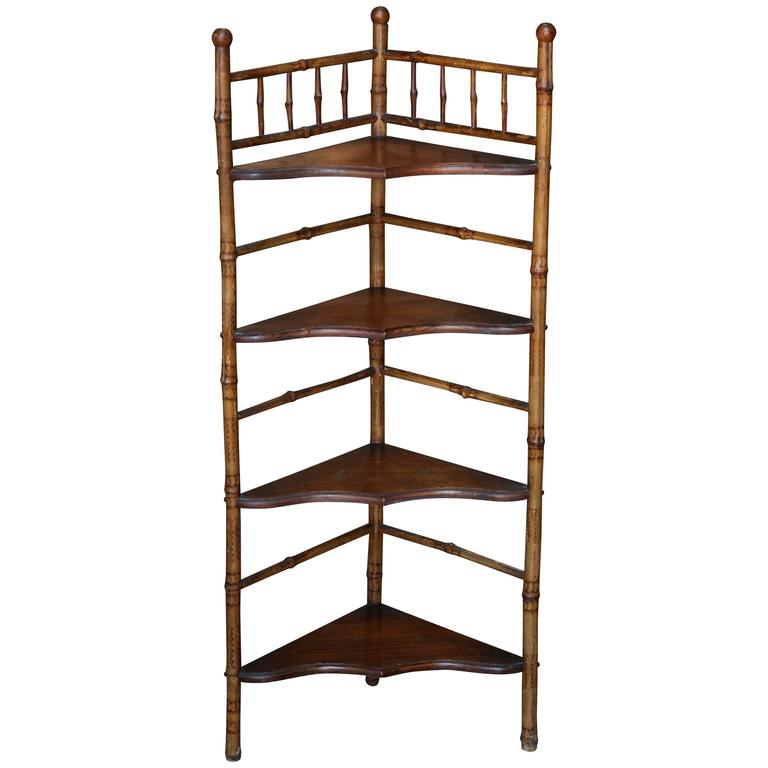 19th Century English Bamboo Corner Etagere