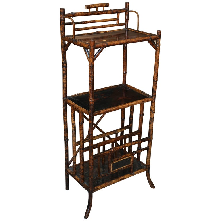 19th Century English Bamboo Étagère with Magazine Stand