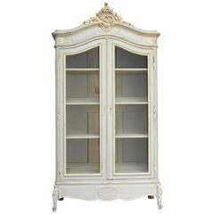 19th Century French Louis XV Painted Bibliotheque Display Armoire