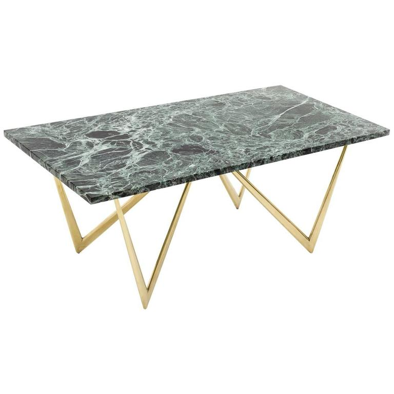 Green Marble And Brass Coffee Table Italy 1950s For Sale