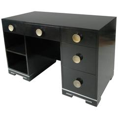 Vintage 1940s Ebonized Desk Attributed to Gilbert Rohde
