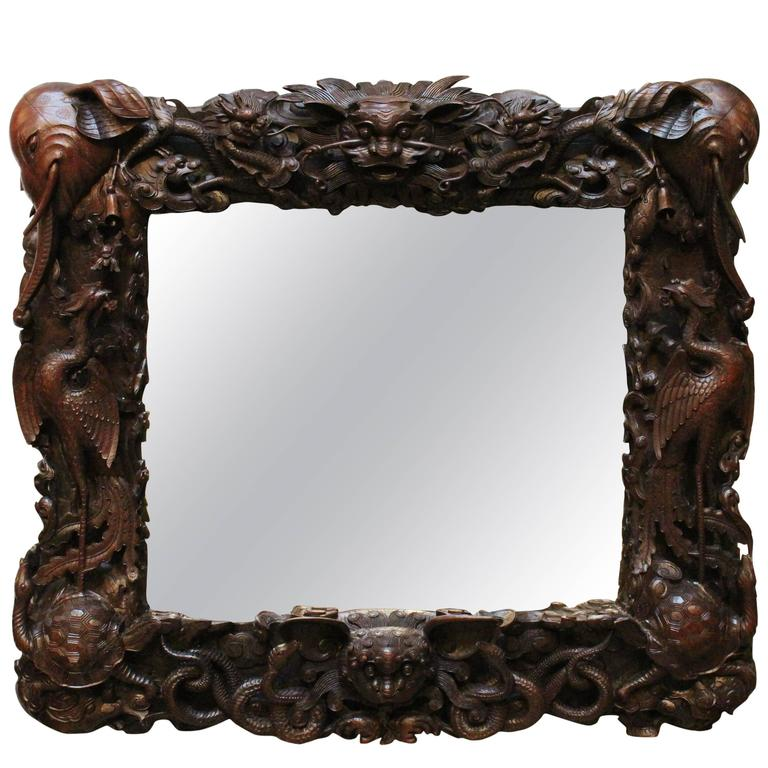 Asian Carved Wood Mirror
